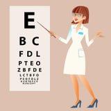 El oftalmólogo del doctor examina sus ojos ilustración del vector