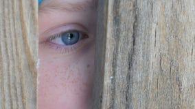 El ojo asustado de un adolescente mira a escondidas en la ranura o la grieta de la puerta en la cerca metrajes