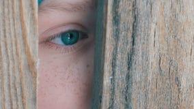 El ojo asustado de un adolescente mira a escondidas en la ranura o la grieta de la puerta en la cerca almacen de video