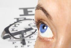 El ojo de las mujeres en carta de prueba de la vista con las lentes imágenes de archivo libres de regalías