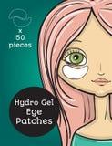 El ojo hidráulico del gel remienda anuncios Ejemplo con la muchacha, diseño de paquete del vector stock de ilustración