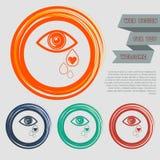El ojo rasga el icono en los botones rojos, azules, verdes, anaranjados para su sitio web y diseño con el texto del espacio Imagenes de archivo