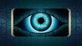 El ojo todo-que ve del hermano mayor en su smartphone, concepto de vigilancia secreta global permanente usando los dispositivos m stock de ilustración