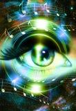 El ojo y la música de la mujer observan y espacio cósmico con las estrellas Silueta audio del altavoz de la música fondo abstract Foto de archivo