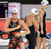 El olímpico y el poseedor del récord daneses esprintan al nadador Jeanette Ottesen del estilo libre Fotografía de archivo libre de regalías