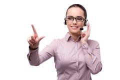 El operador de centro de atención telefónica joven aislado en blanco Fotografía de archivo