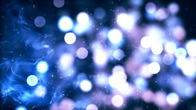 El orbe blanco y azul del bokeh le gusta partículas almacen de metraje de vídeo