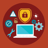 El ordenador anti de la seguridad del virus cerró el ejemplo plano del escudo Imágenes de archivo libres de regalías