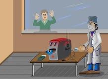 El ordenador es enfermo, las curaciones de un doctor. ilustración del vector