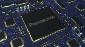 El ordenador imprimió la placa de circuito o el PWB con el logotipo de Panasonic Corporation Animación conceptual del editorial 3 ilustración del vector