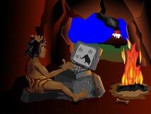 El ordenador incluso conoce a los hombres de las cavernas que se sientan alrededor de Imagen de archivo