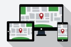 El ordenador, la tableta y el teléfono móvil con la navegación en línea trazan stock de ilustración