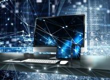 El ordenador, la tableta y el smartpone conectaron con Internet Concepto de Internet 3d rinden ilustración del vector