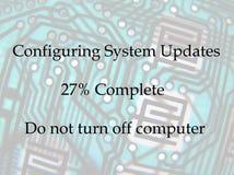 El ordenador pone al día el aviso foto de archivo libre de regalías