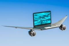 El ordenador portátil con el aeroplano se va volando, turbo impulsa concepto representación 3d Fotografía de archivo libre de regalías