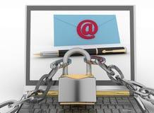 El ordenador portátil con las letras entrantes vía correo electrónico protegió la cerradura Fotos de archivo