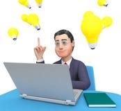 El ordenador portátil del carácter significa la representación del World Wide Web y del negocio 3d Fotografía de archivo