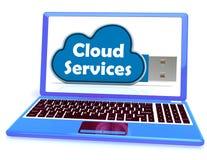 El ordenador portátil del Memory Stick de los servicios de la nube muestra la copia de seguridad de fichero de Internet Fotos de archivo libres de regalías
