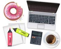 El ordenador portátil, la taza de café y el buñuelo Vector realista mofa de la colocación del producto para arriba Ejemplos de es ilustración del vector