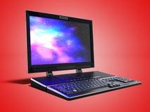 El ordenador portátil moderno de las multimedias para el trabajo 3d rinde en los wi rojos del fondo ilustración del vector