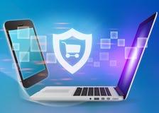 El ordenador portátil y el teléfono con el escudo cart el icono en un azul Imágenes de archivo libres de regalías