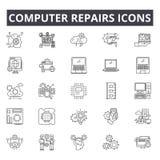 El ordenador repara la línea iconos, muestras, sistema del vector, concepto linear, ejemplo del concepto del esquema ilustración del vector