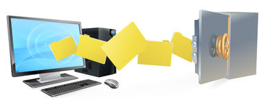 El ordenador seguro asegura la copia de seguridad de la transferencia Foto de archivo libre de regalías