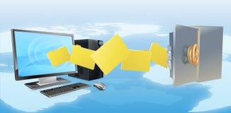 El ordenador seguro asegura la copia de seguridad de la transferencia Fotografía de archivo libre de regalías