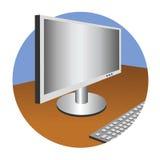 El ordenador y el teclado ilustración del vector