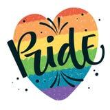 El orgullo del texto de Gay Pride con salpica y puntea la decoración en fondo gay colorido del corazón del arco iris stock de ilustración
