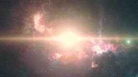 El origen del universo, la explosión grande, composición futurista brillante ilustración del vector