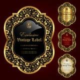 El ornamental de lujo oro-enmarcó las etiquetas - sistema del vector Imagenes de archivo