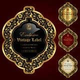 El ornamental de lujo oro-enmarcó las etiquetas - sistema del vector Imágenes de archivo libres de regalías