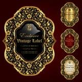 El ornamental de lujo oro-enmarcó las etiquetas - sistema del vector Foto de archivo
