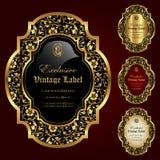 El ornamental de lujo oro-enmarcó las etiquetas - sistema del vector Fotografía de archivo