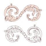 El ornamento barroco caligráfico con una corona es conveniente para el diseño de etiquetas, invitaciones, postales Se ejecuta en  stock de ilustración