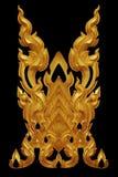 El ornamento del oro plateó el vintage floral, estilo tailandés del arte Foto de archivo