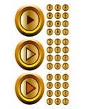 El oro abotona el vec video audio del cotroller de los media ilustración del vector