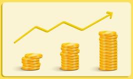 El oro acuña el crecimiento de las ganancias, vector del negocio del crecimiento de la carrera fotografía de archivo libre de regalías