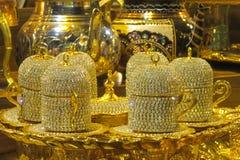El oro adornó el juego de té Imagen de archivo