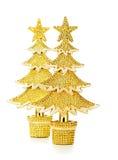 El oro adornó los árboles de navidad Foto de archivo