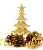 El oro adornó los árboles de navidad y el objeto del día de fiesta Fotografía de archivo libre de regalías