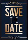 El oro ahorra la invitación de boda de la fecha libre illustration