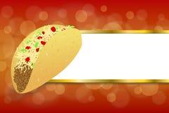 El oro amarillo rojo del taco abstracto de la comida del fondo raya el ejemplo del marco stock de ilustración