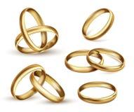 El oro anillo de bodas el sistema, símbolo del regalo de la ceremonia libre illustration