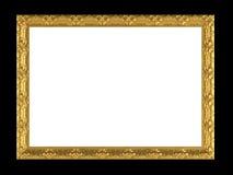 El oro antiguo adornó el marco aislado Fotos de archivo libres de regalías