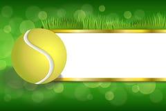 El oro blanco de la bola del amarillo del tenis del deporte verde abstracto del fondo pela el ejemplo del marco Foto de archivo libre de regalías