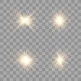 El oro brilla intensamente efecto luminoso ilustración del vector