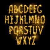 El oro chispea alfabeto, ABC encendido Imagen de archivo libre de regalías