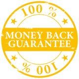 El oro coloreó el icono 100% del sello de goma del grunge de la garantía del reembolso del dinero Fotos de archivo
